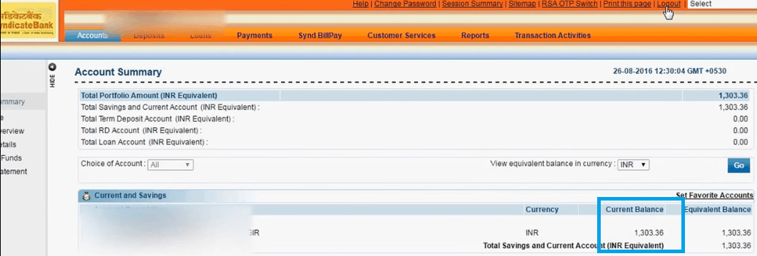 syndicate bank account balance details