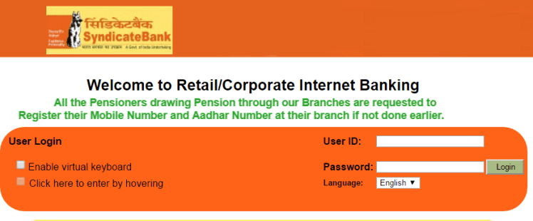 Syndicate Bank net banking login