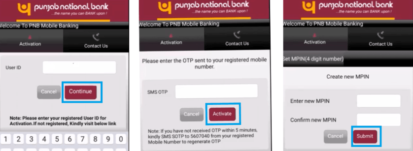 activate mpin Punjab national bank