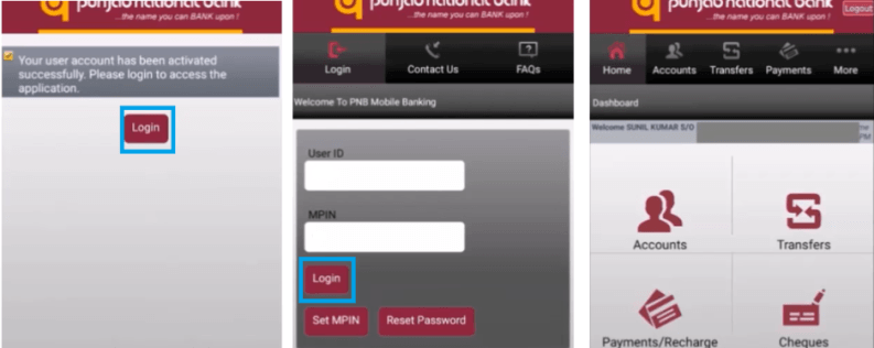 pnb mobile banking login id