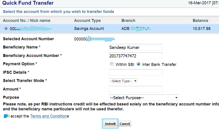 sbi to other bank quick money transfer