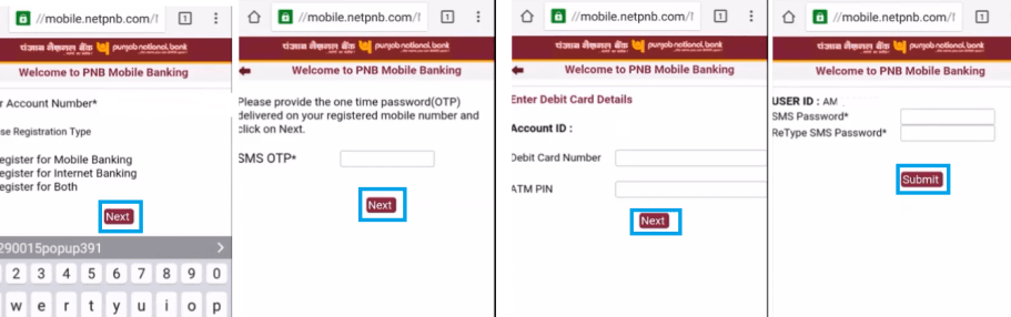 generate user id pnb mobile banking
