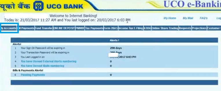 uco bank account balance check