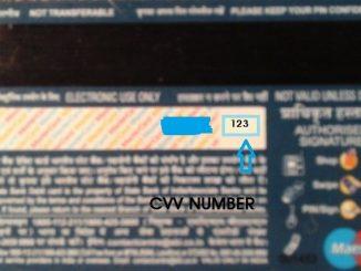 cvv number in sbi debit card