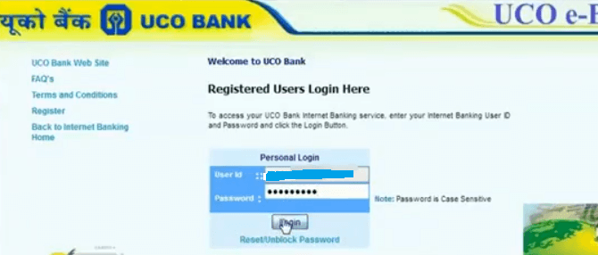 uco bank net banking login