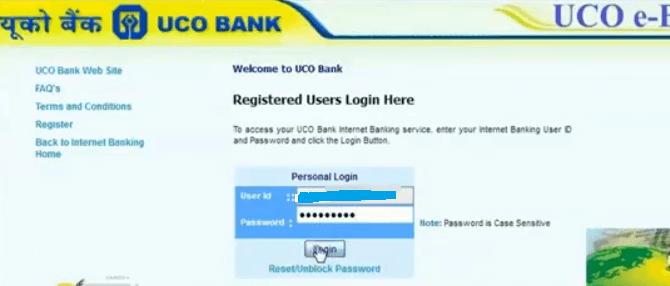 uco bank net banking login