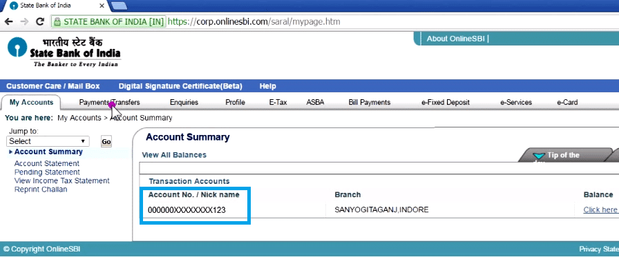 know sbi account number via net banking