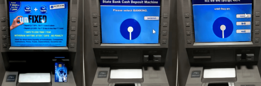 cash deposit sbi atm step 1