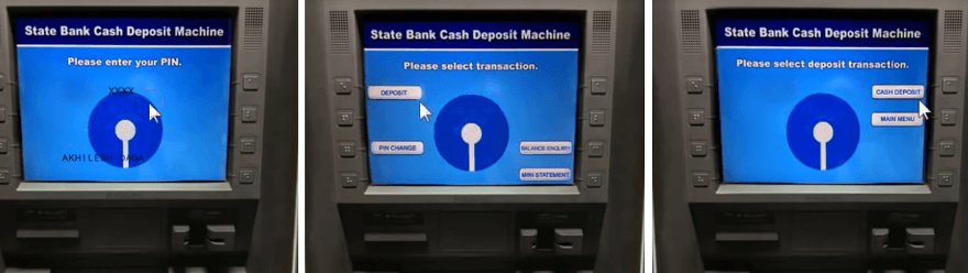 cash deposit in sbi cdm step 2