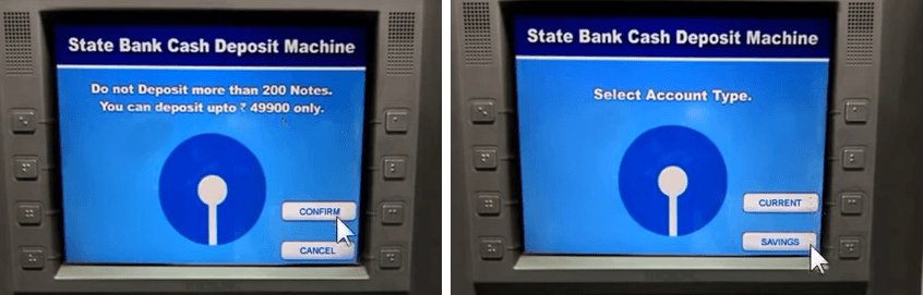 cash deposit sbi atm step 3
