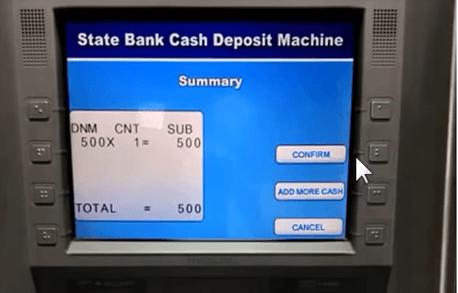confirm cash deposit sbi atm