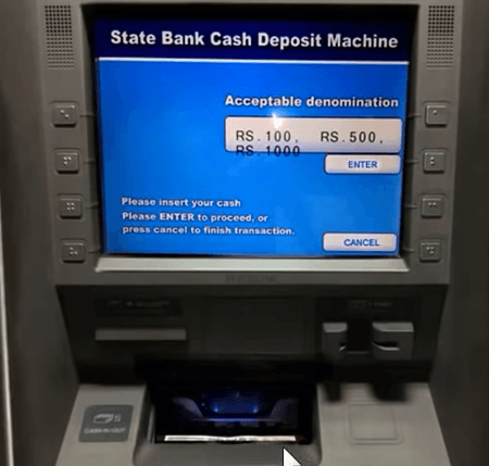 put money in sbi atm cash slot