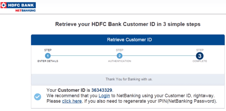 get customer id for hdfc bank