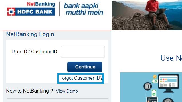 forgot customer id hdfc bank