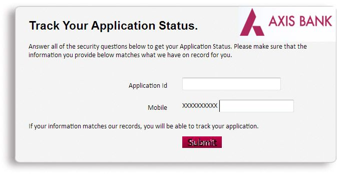 check axis bank credit card application status