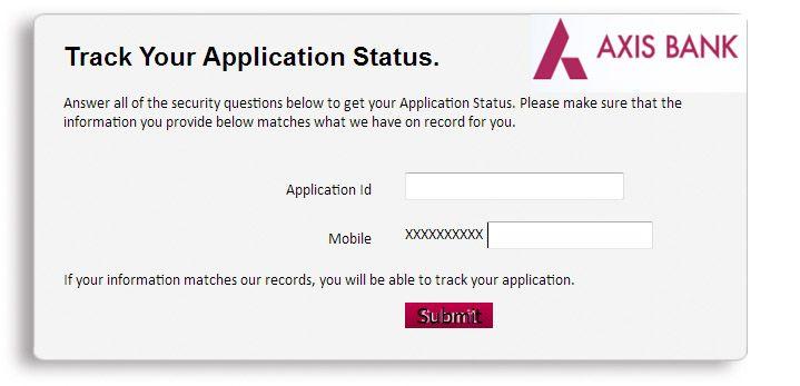 check axis bank credit card application status