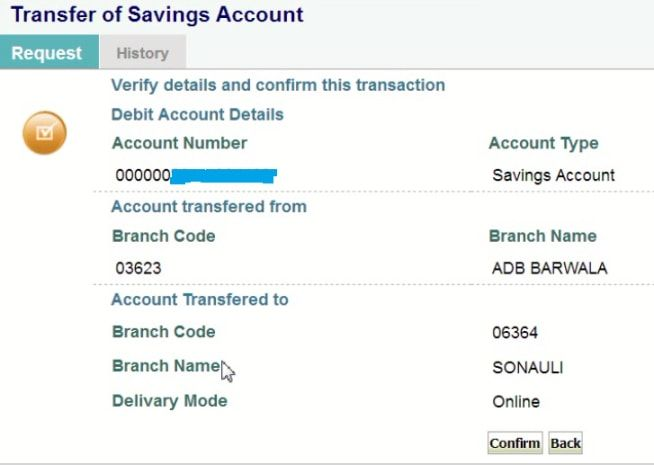 confirm sbi account transfer details