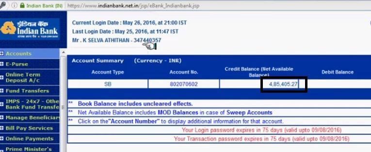 indian bank balance check via net banking