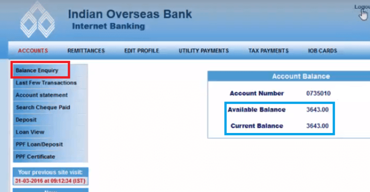 iob account balance check via net banking