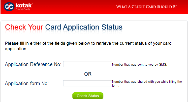 check kotak credit card application status