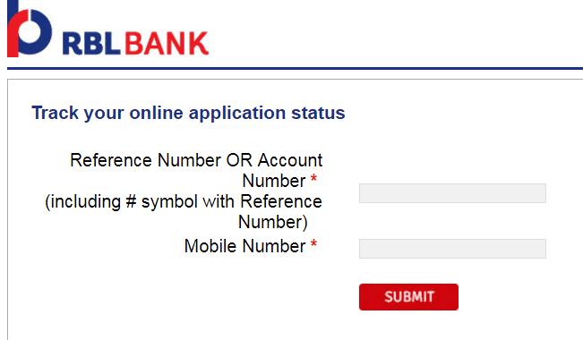 rbl credit card status online