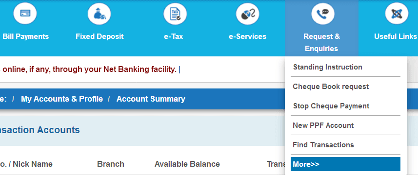 request and enquiries tab in sbi