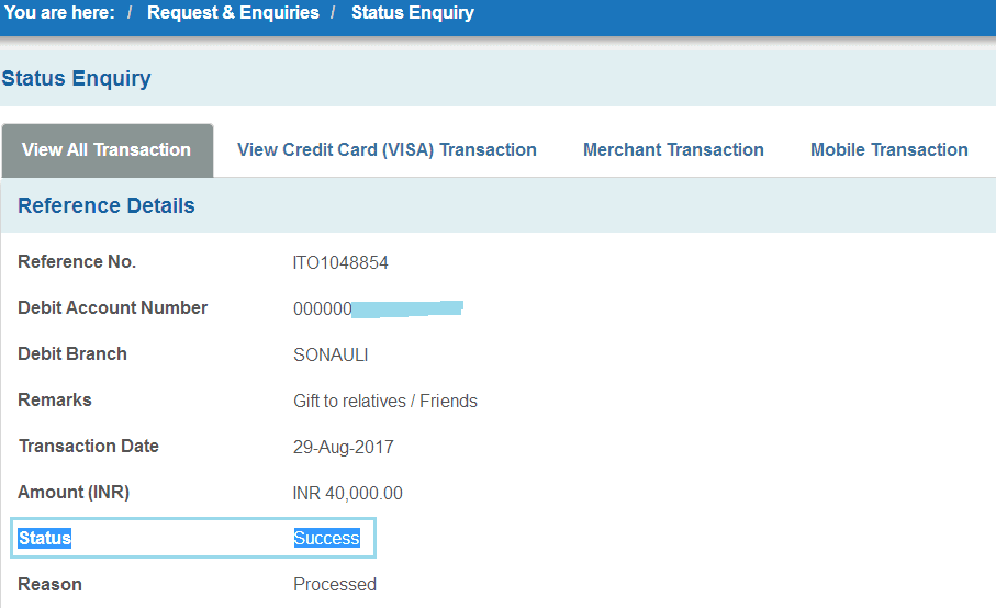 check sbi transaction status details