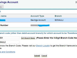 transfer sbi saving account one branch to other online