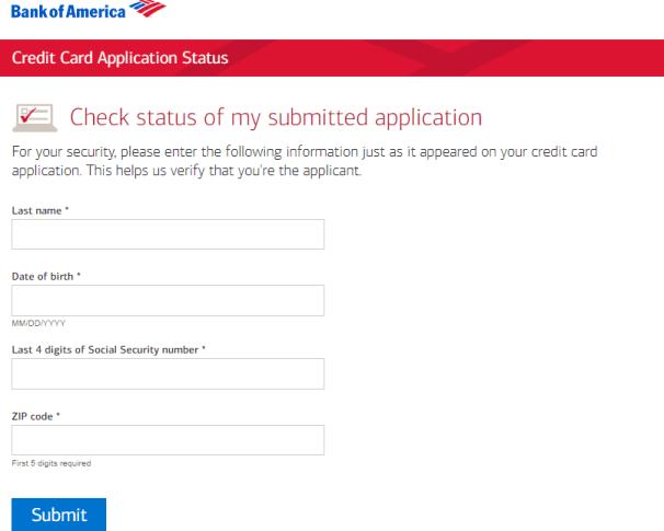 bank of america credit card status