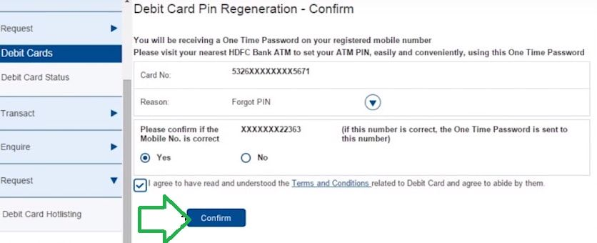 confirm hdfc atm pin