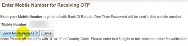 enter registered mobile number bank of baroda
