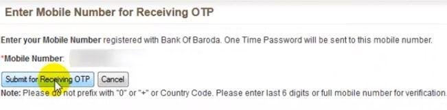 enter registered mobile number bank of baroda