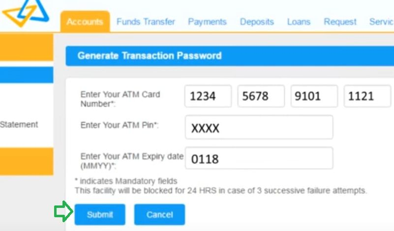 generate transaction password canara bank