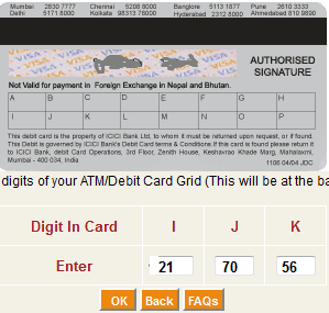 grid number icici debit card