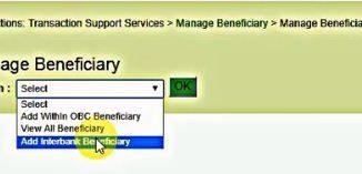 add interbank beneficiary obc