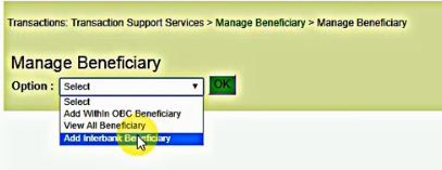 add interbank beneficiary obc