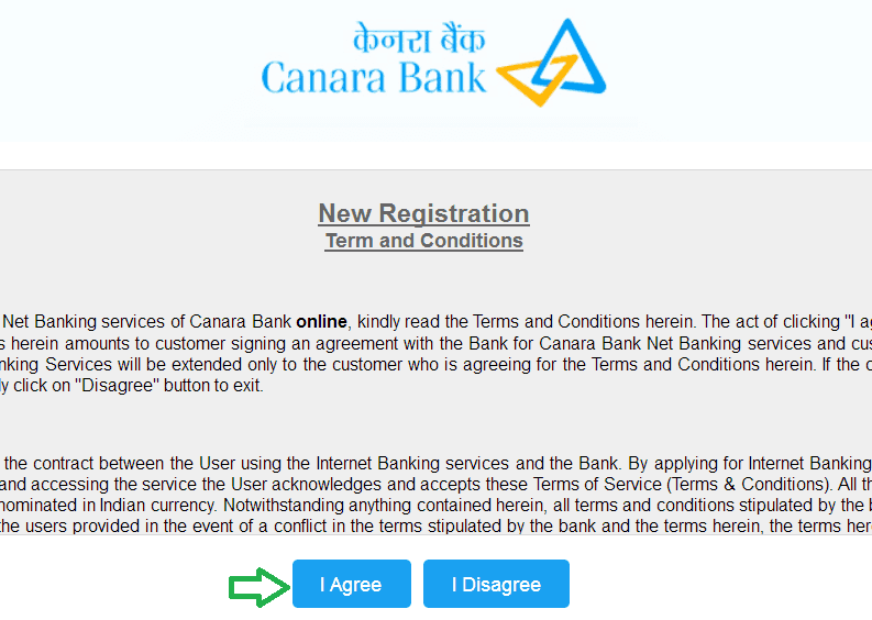 new registration canara bank