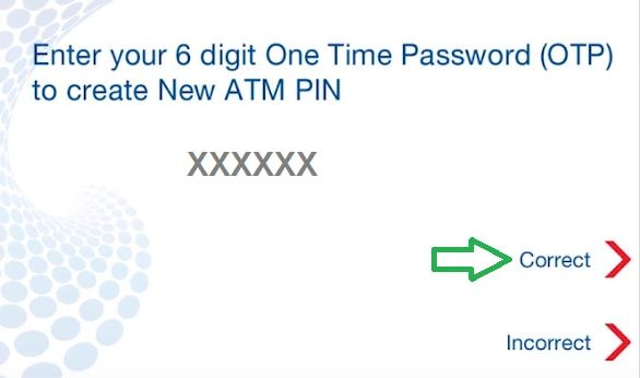 enter one time pin hdfc atm