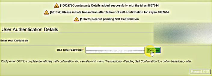 one time password ob net banking