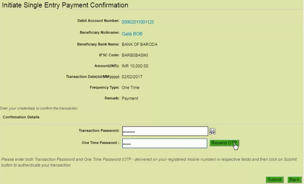 payment confirmation obc net banking