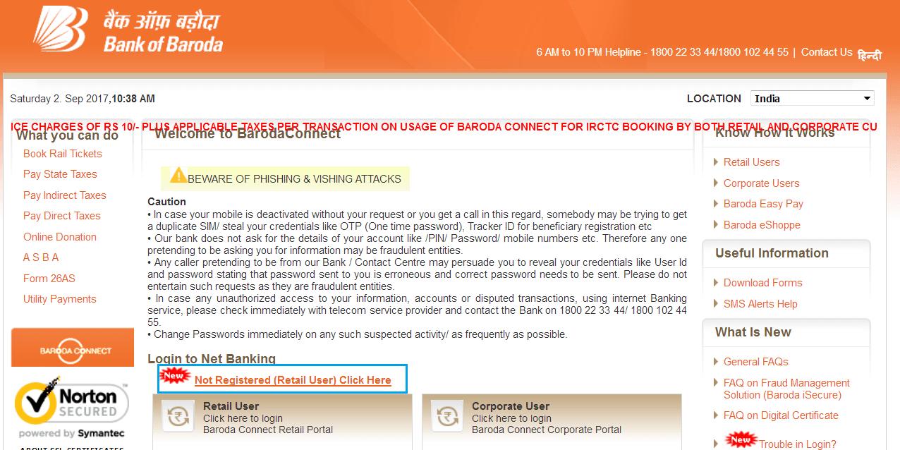 register for bank of baroda net banking