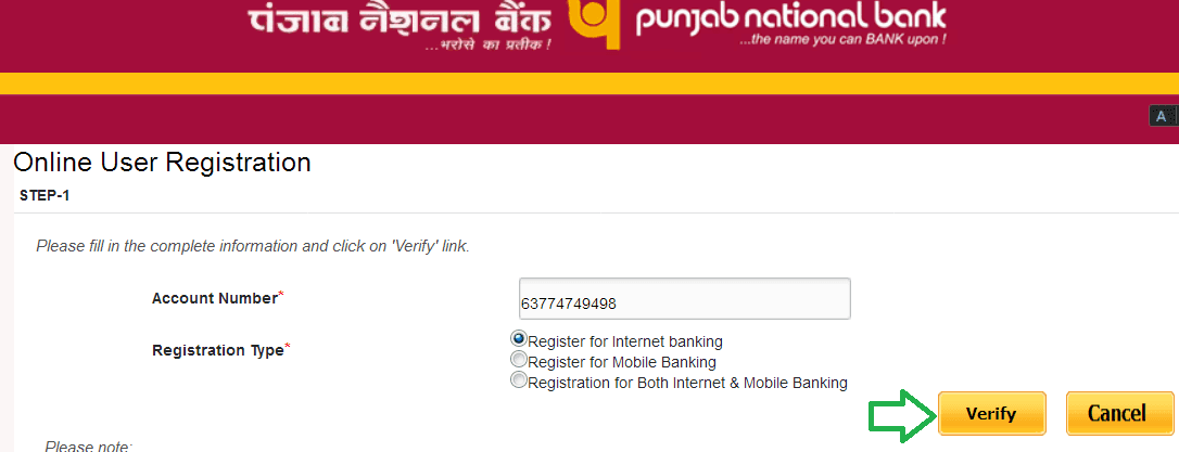 register for pnb net banking