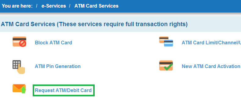 request atm debit card