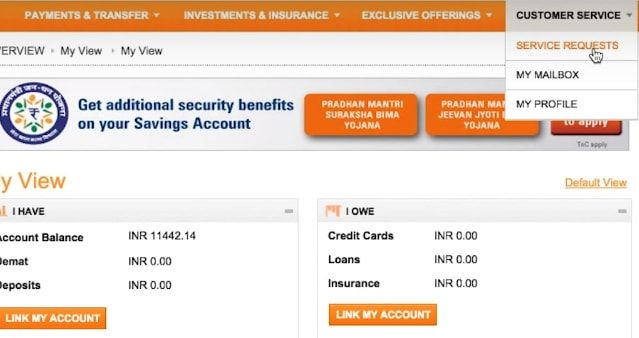 services request icici net banking