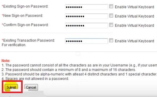 set sign on password bank of baroda