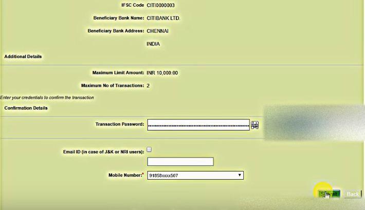 transaction password obc net banking