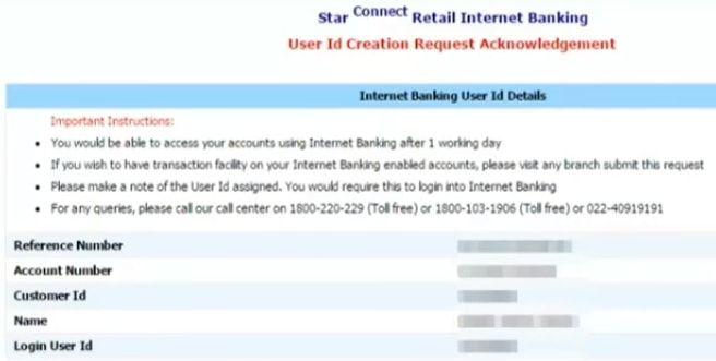 user id bank of india