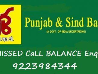 punjab & sind bank missed call balance enquiry number