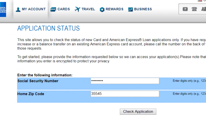 american express credit card status online