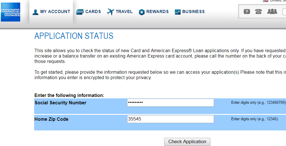 american express credit card status online